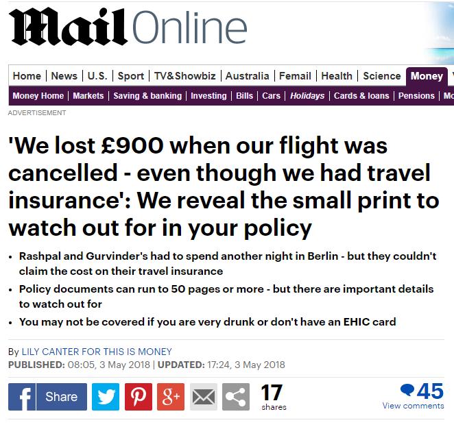 Travel insurance screengrab